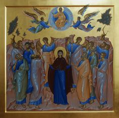 Icon of the Ascension of Our Lord, God and Savior Jesus Christ. Byzantine Icons, Byzantine Art, Religious Icons, Religious Art, Ascension Of Jesus, Angel Images, Bnf, Orthodox Icons, Christian Art