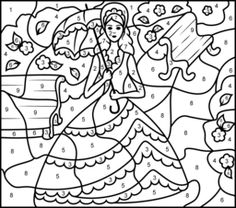 Princess in Garden - Printable Color by Number Page - Hard