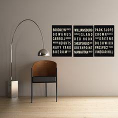 Brooklyn - Subway Art - Typography Poster - Modern Home Decor - Set of 3 - 11x17. $54.00, via Etsy.