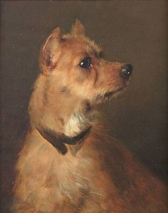 """Terrier"" by follower of George Earl, English painter of sporting dogs, 1824-1908"