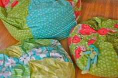"""Adult bean bag chair    Click the blue link """"grown up size bean bag tutorial"""" to open a PDF of the tutorial with patterns."""