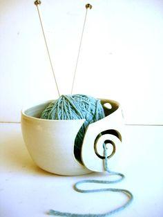 Aqua In White Wheel Thrown Yarn Bowl, I love this bowl, so useful!