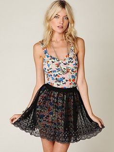 Free People Embroidered Mesh Circle Skirt at Free People Clothing Boutique - StyleSays