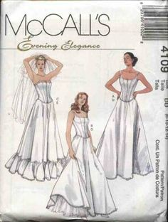 McCall's Sewing Pattern 4109 Misses Size 12-18 Long Full Slips Petticoats Boned Top Corset Bustier