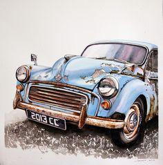 Watercolor Painting Abandoned Car 2013 | Yung