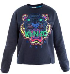 Kenzo Blue Tiger Embroidered Sweater