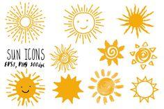 Doodle sun icons set  @creativework247