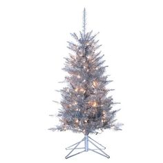 The Jolly Christmas Shop - 4' Silver Tiffany Tinsel Prelit Tree, $189.00 (http://www.thejollychristmasshop.com/4-silver-tiffany-tinsel-prelit-tree/)