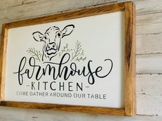 30 The Best Farmhouse Kitchen Art Ideas Cow Kitchen Decor, Farmhouse Kitchen Signs, Cow Decor, Kitchen Wood, Farmhouse Decor, Country Farmhouse, Kitchen Ideas, Farmhouse Ideas, Kitchen Colors