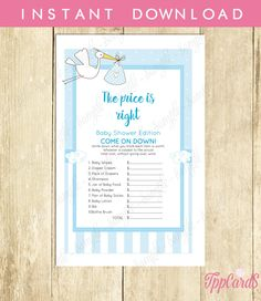 New to TppCardS on Etsy: Instant Download Blue Stork Baby Shower Games for Boy Stork The Price Is Right Game Blue Stork Baby Shower Blue Shower Price Is Righ (2.00 EUR)