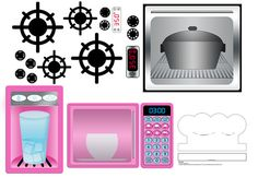 Girl's Play Kitchen Printable Decal Bundle Instant  Download. Range, Oven, Microwave, Fridge, Chef Hat.