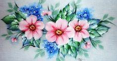 Pintura em Tecido flores silvestres , com risco e guia de cores, pano de prato. fabric painting, artesanato