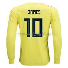 Billige Colombia Drakt VM 2018 James Rodriguez 10 Langermet Hjemme Fotballdrakter