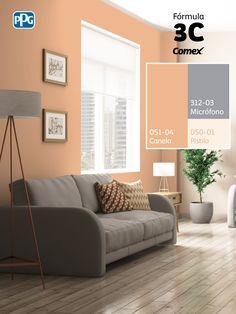 Aplicando nuestra #Fórmula3C podrás cambiar, con sólo 3 pasos, el aspecto de todo tu hogar. #Combina colores y transforma tu espacio. Paint Colors For Living Room, Paint Colors For Home, Room Paint, Bedroom Colors, Home Decor Colors, House Colors, Off White Bedrooms, Exterior Paint Color Combinations, Office Wall Colors