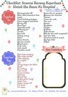 Senarai barang untuk dibawa ke hospital semasa hendak bersalin