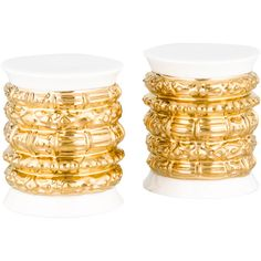 Pre-owned Katy Briscoe Bangles Salt & Pepper Shakers ($95) ❤ liked on Polyvore featuring home, kitchen & dining, serveware, gold, white bone china, white salt and pepper shakers, bone china, white serveware and katy briscoe