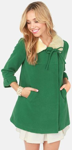 Jade Green Swing Coat