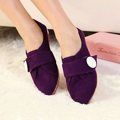 New Design Suede Button Purple Pointy Closed Toe Flats