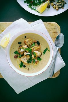 roasted cauliflower soup with lemon rosemary vegan roasted cauliflower ...