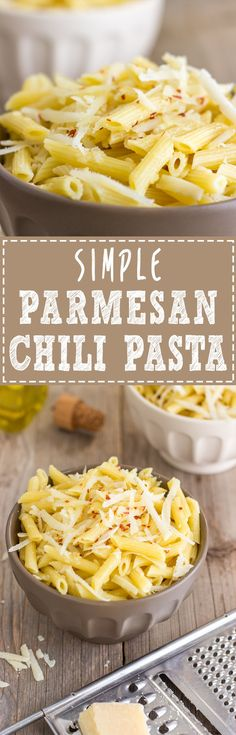 Simple Parmesan Chili Pasta - This is the easiest and fastest pasta recipe ever! All you have to do is cook the pasta, pour over some good quality extra virgin olive oil, add parmesan + chili flakes, mix well and you are ready to serve via @happyfoodstube