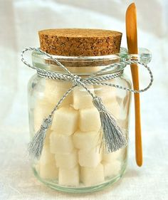 6oz Flavored Sugar Cubes In Glass Jar With Wooden Spoon - For Coffee, Tea Or Champagne Toasts & Parties by Trio Artisan Designs on Gourmly