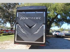 Keystone Raptor toy hauler 423 highlights: Outdoor Kitchen Separate Garage Loft Exterior TV Master Suite With this Raptor toy hauler, you will. Raptor Toys, Fifth Wheel Toy Haulers, Ocala Florida, Madeira Beach, Electric Awning, Keystone Rv, Open Layout, Entry Doors, Fresh Water