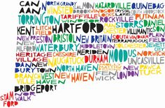 Large CONNECTICUT via Etsy. I'm gonna print it on tissue paper and modge podge to a canvas for mom. Idea courtesy of Megan and Em