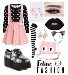 """""""Pastel Goth Kitty"""" by faeriesquall ❤ liked on Polyvore featuring Iron Fist, WithChic, Banned and True Craft"""