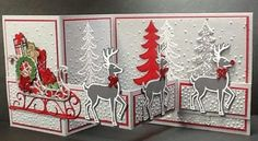 handmade Christmas card ... fancy fold creation ... Santa's sleigh with reindeer ... backgrounds with embossing folder snow dot texture and die cut trees ... red, white and gray ... Stampin' Up!