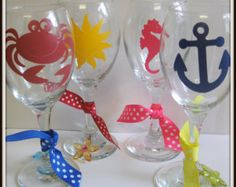 Beach Themed Wine Glasses Set of 4 for Mom on Mothers Day