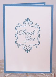 Elegant Blue Swirl Hand Made Thank You Card | Laurascrafts - Cards on ArtFire