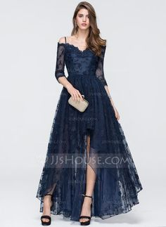 [US$ 144.39] A-Line/Princess Off-the-Shoulder Asymmetrical Tulle Prom Dress With Beading Sequins