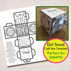 Girl Scouts Paper Craft Box Template Girl by TidyLadyPrintables                                                                                                                                                                                 More