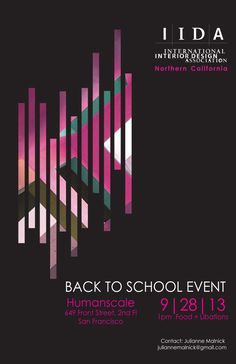 IIDA Back To School Event Poster, designed by Julianne Malnick