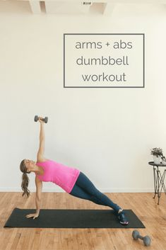 the ultimate arms and abs dumbbell workout. get a better return on your rep-investment by maximizing the number of muscles you engage in these 8 compound upper body exercises. Bodyweight Upper Body Workout, Six Pack Abs Workout, Abs Workout For Women, Dumbbell Workout, Workout Fitness, Fitness Diet, Dumbbell Exercises, Fitness Motivation, Workout Board