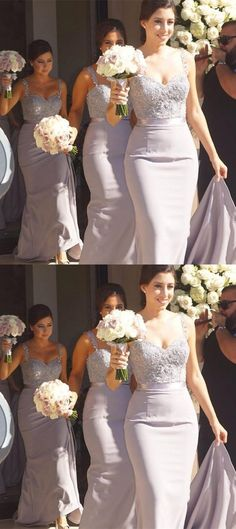 lilac bridesmaid dresses, wedding party dresses, mermaid bridesmaid dresses with beaded appliques.