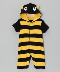 Take a look at this Yellow Stripe Bee Romper - Infant by Lazoo on #zulily today!