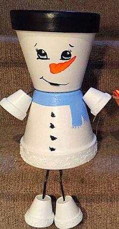 Snowman Flower Pot People Clay Pot People Planters Snowmen