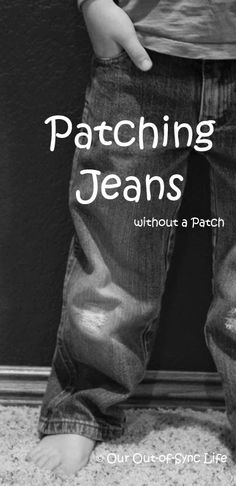 Step-by-step directions to patch holey jeans without patches.