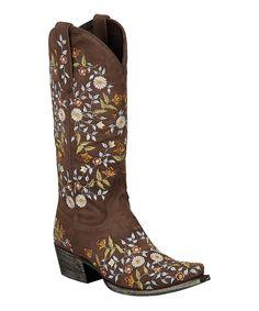 Look at this #zulilyfind! Lane Boots Chocolate Floral Spring Fling Cowboy Boot - Women by Lane Boots #zulilyfinds