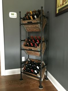 Wine rack from pipes and old milk crates ** More details can be found by clicking on the image. #allaboutwine