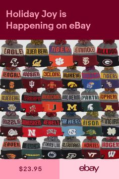 5c3db346370 New Era 2017 College NCAA NFL On Field NE16 Model Sport Knit Pom Beanie Hat  Cap
