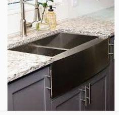 Black stainless steel farm sink Kitchen Interior Diy, Rustic Kitchen Design, Luxury Kitchen Design, Kitchen Redo, Kitchen Designs, Kitchen Remodel, Kitchen Ideas, Stainless Farmhouse Sink, Stainless Steel Farmhouse Sink