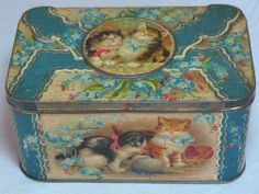 SPLENDID VERY RARE ANTIQUE UNBRANDED CATS & KITTENS HEDGEHOG BISCUITS TIN C1900