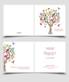 Lief Geboortekaartje Jongen Meisje Met Vlinders En Boom | Jutenjul Design