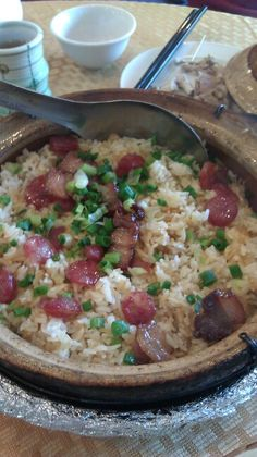 One of my favorites...Chinese sausages & pork belly mixed with rice in a clay pot.