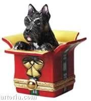 "Dog Lovers Limoges Box - ""Scottie in a Present"" 