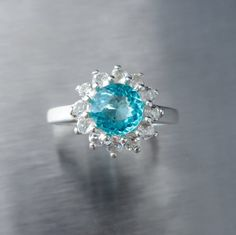 1.10cts Natural Apatite paraiba blue 6.5mm 925 Silver by EVGAD, £49.99