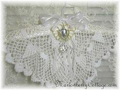 Vintage Victorian Lace crochet   BRIDAL LINGERIE hanger use those doilies