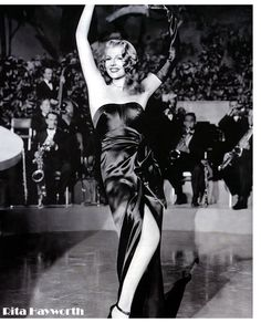 Rita-Hayworth 1940.  Hollywood ~ a word that conjures up the modern day film industry while forever evoking memories of a bygone era:  the Golden Age of the Silver Screen, decorated by the eternal movie stars who epitomised glamour, style and sophistication and who defined 40s fashion.